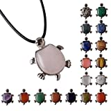 JOYA GIFT Healing Turtle Crystal Jewelry Pendant Necklace Black Cord Chain Gifts for Women