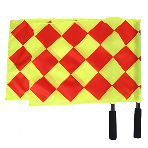 Alomejor Referee Flags, Linesman 2Pcs/Bag Soccer Football Foam Handle Referee Signal Flags with Storage Bag