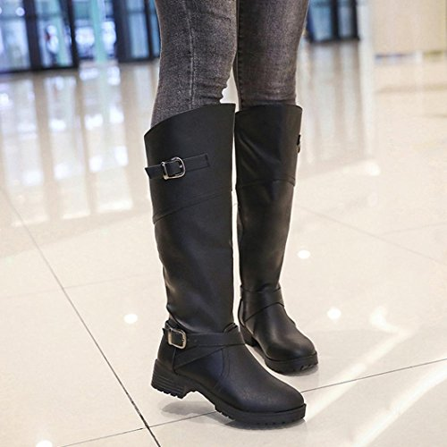 Kaicran Mode Gesp Laarzen Vrouwen Pu Lederen Knight Gesp Dames Laarzen Platte Martin Schoenen Zwart