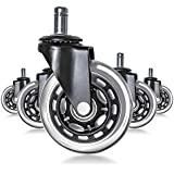 SIHOO Office Chair Casters Replace Rubber Chair Casters, Roller Bearings, Suitable for Hard Floors and Carpets, Heavy Duty Safe and Reliable, (Set of 5)