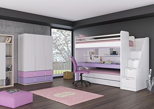 Etagenbett Kinder Mit Treppe : Kinder jugendzimmer komplett hochbett inkl. regal unterbett 3