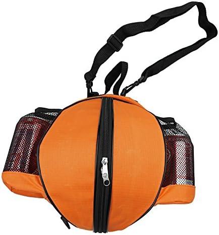 FoRapid Basketball Bag Soccer Ball Football Volleyball Softball Sports Ball Bag Holder Carrier Case Handbag+Adjustable Shoulder Strap 2 Side Mesh Pockets for Water Bottle Towel Sports Shoes (Orange)
