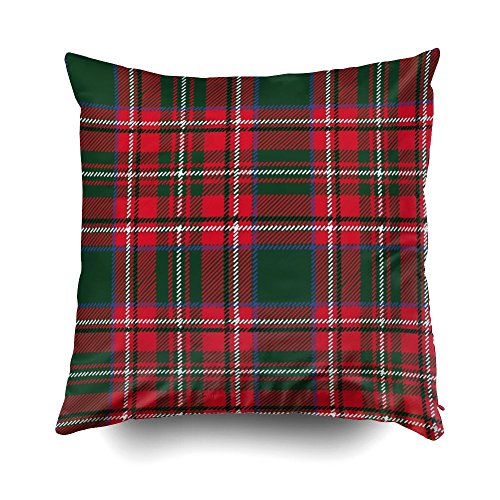 GROOTEY Square Pillow Covers with Zip Couch Sofa Décor Tartan Plaid Pattern Wallpaper Wrapping Paper Textile Retro Style Fashiillustratibackground Ch 18X18 Throw Cushion