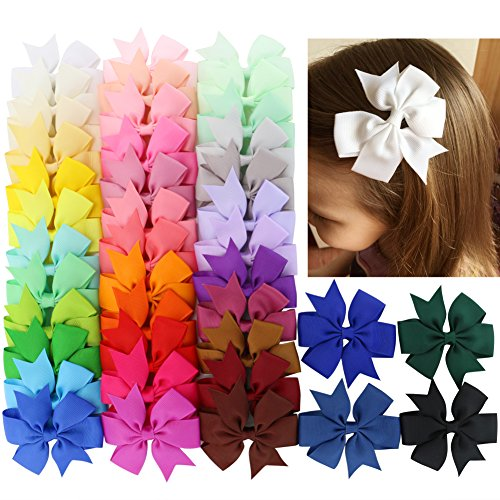 40Piece Baby Boutique Grosgrain Ribbon Pinwheel Hair Bows With Clips For Teens Toddlers (Kids Bows)