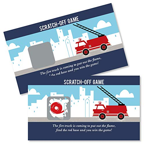 Big Dot of Happiness Fired Up Fire Truck - Firefighter Firetruck Baby Shower or Birthday Party Game Scratch Off Cards - 22 Count ()