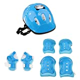 Dovewill 7 Pieces Kids Children Roller Skating Skateboard Bike Helmet Knee Elbow Pad Wrist Guard Protective Sets - Blue