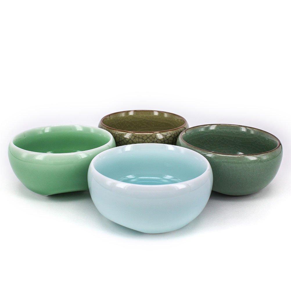 ZHAMS Kungfu Teacup,Chinese Long-quan Celadon Teacup,Tea Set, Different Colors, Set of 4 by ZHAMS (Image #2)