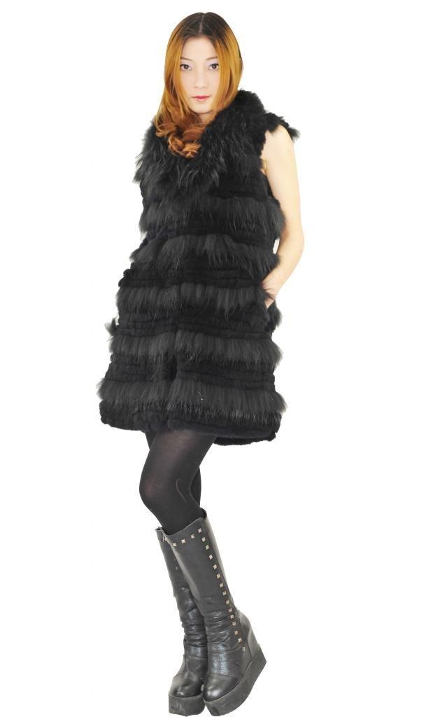 CX FUR Women Vest Top Rabbit Fur Vest With Raccoon Fur,Black Colour,XL