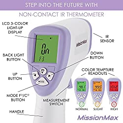 Forehead Thermometer Safe Non-Contact Instant Read, Temperature Baby Monitor, Kids & Adults, Baby Must Haves for Baby First Aid Kit, Infant Thermometer or Thermometer for Kids, Surfaces