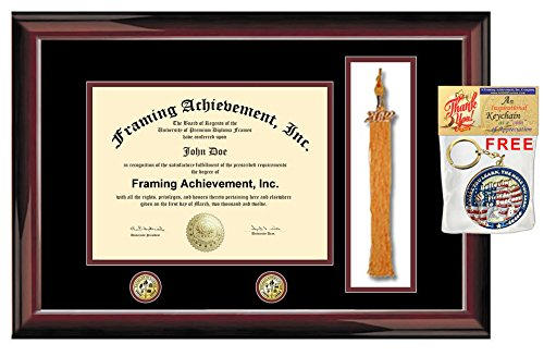 College University Diploma Frame Tassel Box Two Gold Seal Insignia Graduation Degree Holder Case Premium Glossy Traditional Mahogany Certificate Matted Graduation Tassle Frame by AllGiftFrames