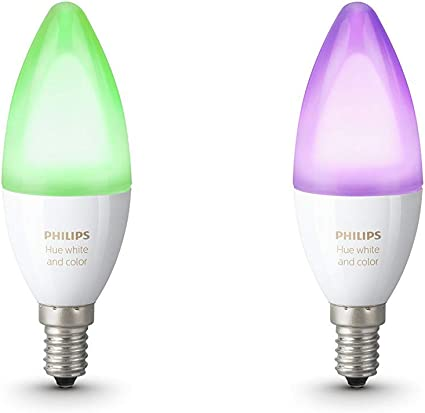 Philips Hue Pack 2 Bombillas Inteligentes LED E14, 6.5 W, Luz ...