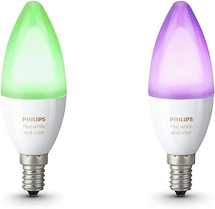 Philips Hue Pack 2 Bombillas Inteligentes LED E14, 6.5 W, Luz ...