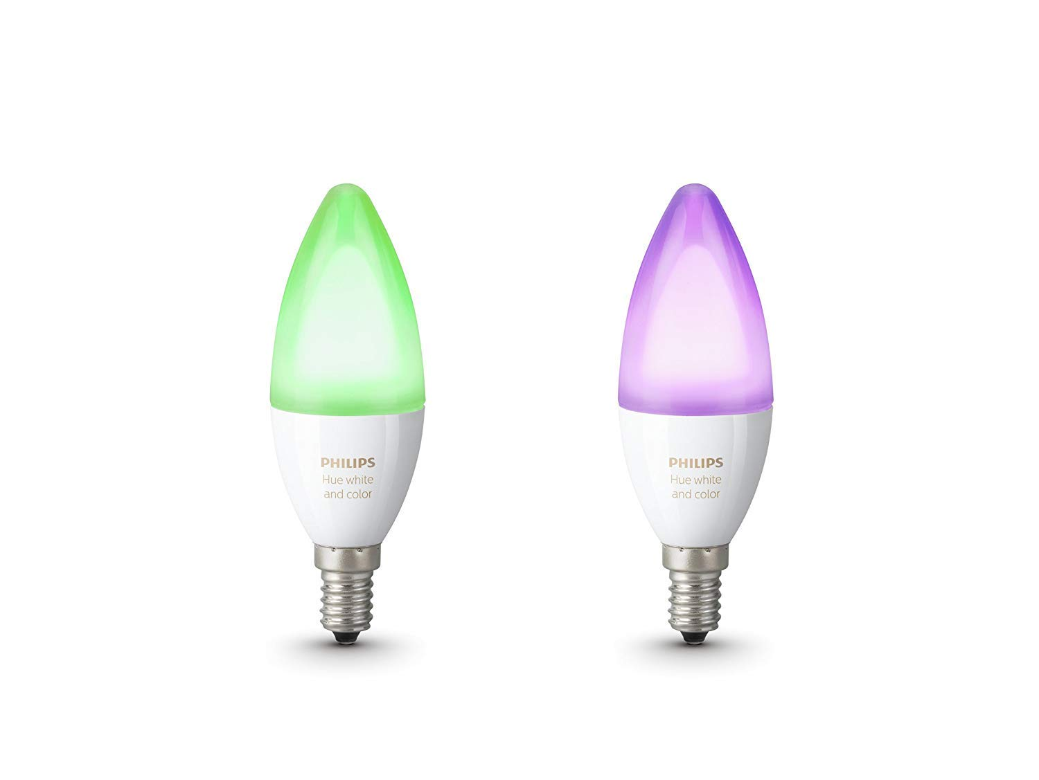 Philips Hue White and Color Ambiance - Pack de 2 bombillas LED E14, 6.5 W
