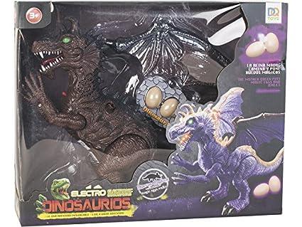 DQTOYS Dinosaurio 32 cm. Andador con Luz, Sonido y 3 Huevos ...