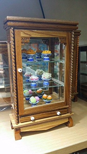 Mini Vintage Cupboard Teak Wood Cabinet Craft Handmade Carved Thai Furniture with 6 Food Models by Panpob68