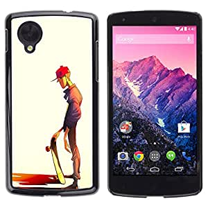GOODTHINGS Funda Imagen Diseño Carcasa Tapa Trasera Negro Cover Skin Case para LG Google Nexus 5 D820 D821 - arte tipo monopatín sombrero chico estilo de la calle