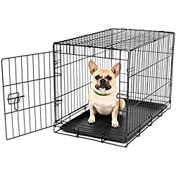 Carlson Pet Products SECURE AND FOLDABLE Single Door Metal Dog Crate, Small