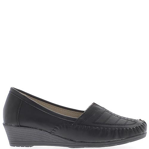 Mocasines de Confort Mujer Negra con tacón compensan 4 cm - 41: Amazon.es: Zapatos y complementos