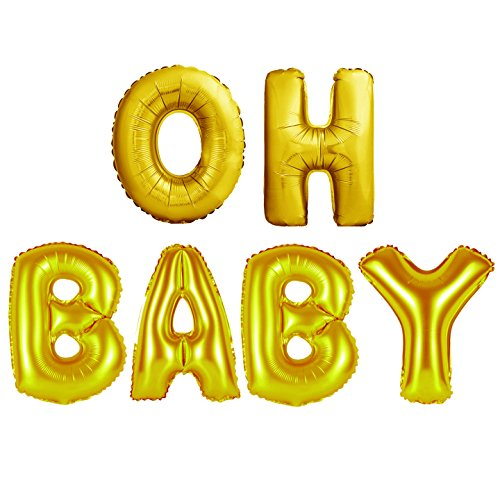 40 Inch Jumbo Helium Foil Mylar Oh Baby Balloons Bouquet | Premium Quality | Gold Giant Letters Balloons | Baby Boy or Girl Showers Decorations, Gender Reveal Party Supplies (OH BABY, GOLD 40