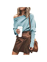 Puimentiua Womens Off Shoulder Loose Pullover Shirt Knit Jumper Batwing Long Sleeve Baggy Solid Tunic Tops.