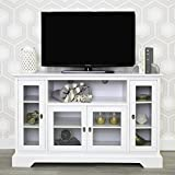 WE Furniture 52 Highboy Style Wood TV Stand Console, White