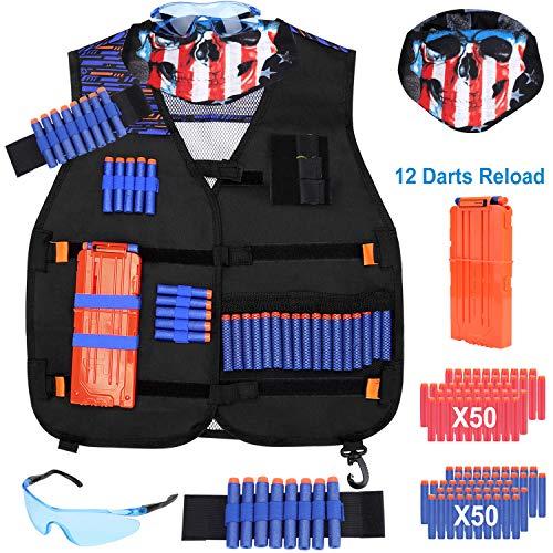 LEVORY J Boys nerf Guns Tactical Vest kit for nerf Guns n-Strike Elite Series with Bullets More nerf Gun Accessories for Boys Girls Kids Gifts