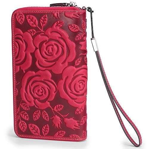 AINIMOER Women RFID Blocking Wallet Leather Zip Around Phone Clutch Large Multi Card Zipper Clutch Purse