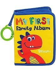 Urban Kiddy™ Baby's My First Family Album | Soft Photo Cloth Book Gift Set for Newborn Toddler & Kids (Dinosaur)