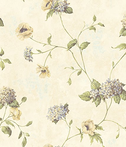 Chesapeake CG97013 Henrietta Rose Hydrangea Floral Trail Wallpaper, White