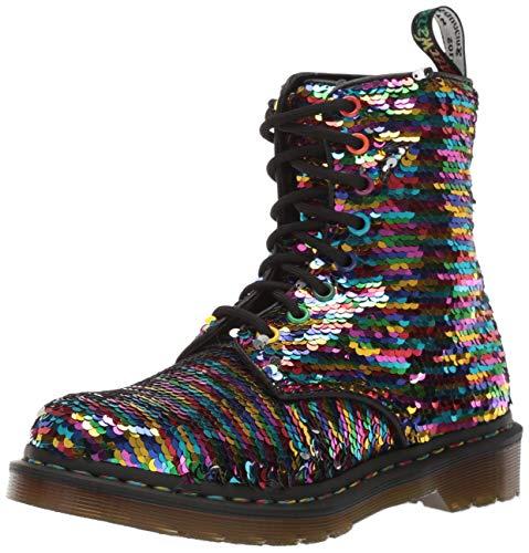 Dr. Martens Women's 1460 Pascal SEQN Fashion Boot, Rainbow Multi/Silver, 3 Medium UK (5 US)