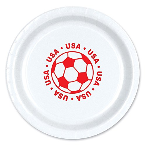 Club Pack of 96 Red and White Disposable ''USA'' Soccer Ball Paper Party Dinner Plates 9'' by Party Central