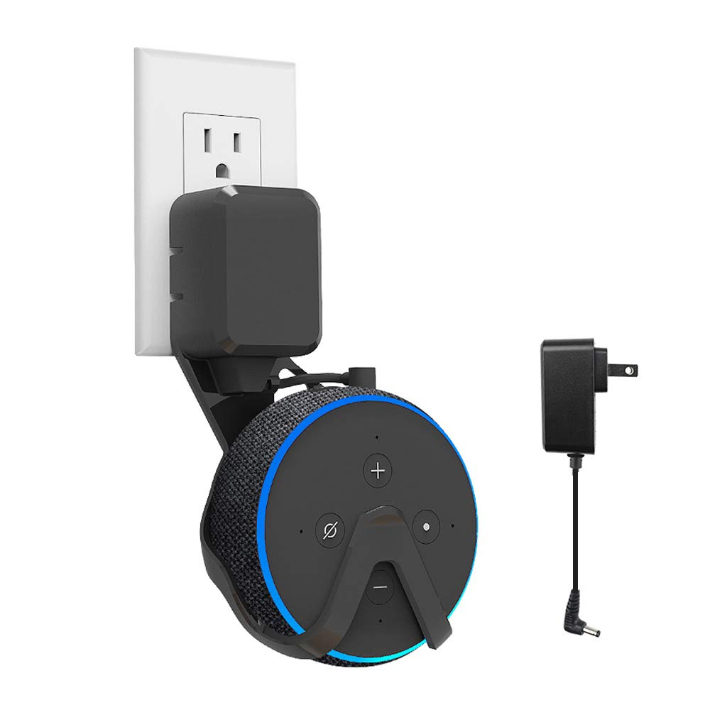 Echo Dot (3rd Gen) Wall Mount Hanger Holder,Built-in Cable Management,No Need to Drill Holes Space-Saving Accessories for Echo Dot (3rd Gen) Smart Speakers - Include Plug with Durable Cord