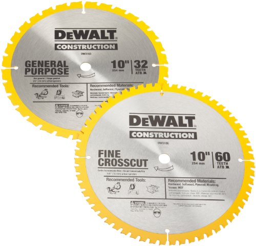 DEWALT DW3106P5 60-Tooth Crosscutting and 32-Tooth General Purpose 10-Inch Saw Blade Combo Pack by DEWALT (Image #1)
