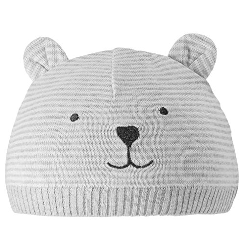 Eriso Unisex Baby Striped Bear Cap Soft Knitted Beanie Newborn Hat (3-6 Months)
