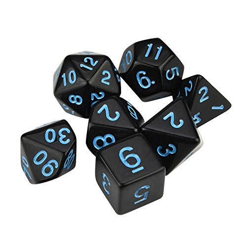 Auwer Clearance Sale Set of 7 Dice Dungeons and Dragons Dice Set for D&D Dice Games RPG MTG Table Games Role Playing Game (Blue) ()
