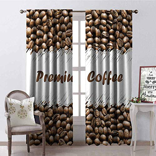 (GloriaJohnson Coffee Blackout Curtain Freshly Roasted Arabica Beans Premium Quality Doodle White Border Being Robust 2 Panel Sets W42 x L63 Inch Cocoa White)