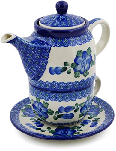 Polish Pottery 16 oz Tea Set for One made by Ceramika Artystyczna (Blue Poppies Theme) + Certificate of Authenticity by Polmedia Polish Pottery (Image #2)