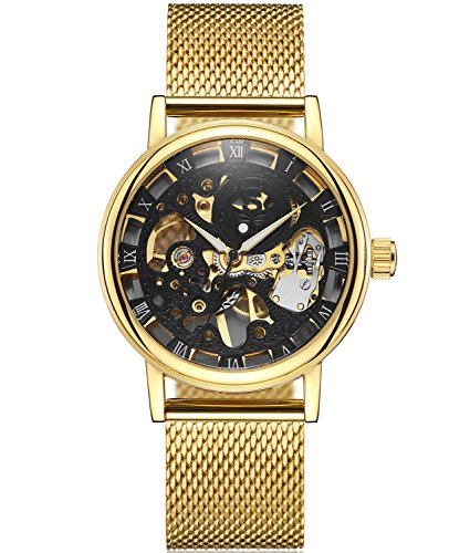 SEWOR Dress Royal Hollow Carving Mechanical Hand Wind Watch with Mesh Steel Band Slim Design (Gold Black) by SEWOR