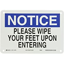 "Brady 41370 Aluminum Maintenance Sign, 7"" X 10"", Legend ""Please Wipe Your Feet Upon Entering"""