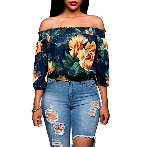 Eiffel Women's Vintage Off Shoulder Floral Print Casual Crop Tops Blouse Tunic Shirt Navy