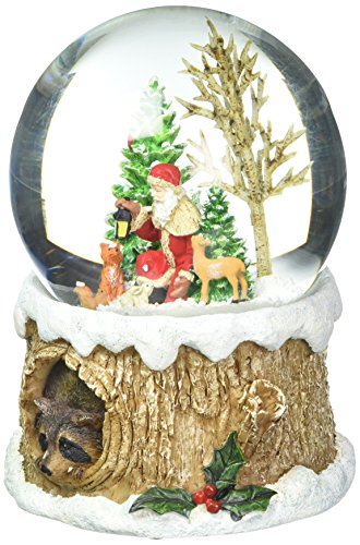 - Glitterdomes 100mm Musical Glitter Dome, Features Santa with Woodland Animals on a Tree Like Base with a Racoon Peeking Out, 5.75-Inch