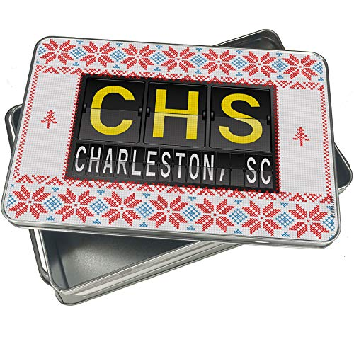 (NEONBLOND Cookie Tin Box CHS Airport Code for Charleston, SC Vintage Christmas)