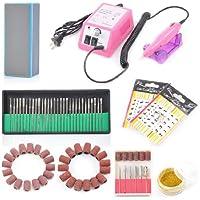 Máquina profesional de uñas de dedo dedo del pie profesional Cuidado de uñas eléctrico Manicura Pedicura Kit Nail Art Taladro eléctrico con Pink Machine Set (H3)