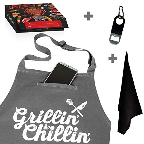 - Chef Apron for Men, Cooking Apron, Funny Apron, BBQ Apron, 3 Pockets, Bottle Opener, Towel and Gift Box Included, Gray 100% Cotton Durable Professional Quality