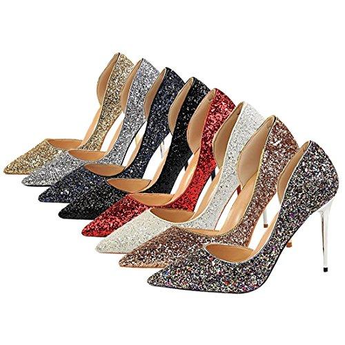 Noir Stilettos Pompes Pointes Côté De Talon Chaussures Creuses Qiyun Paillettes Femmes z Haut Pointues qEzwW7O6