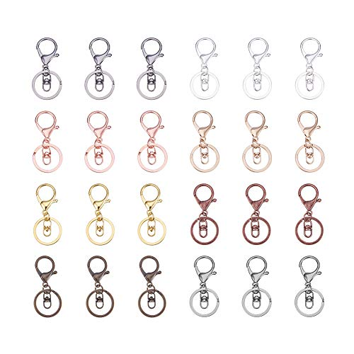 (PandaHall Elite 32 Pcs Alloy Lobster Clasp Swivel Lanyard Snap Hook with Key Ring 8 Colors 68x30mm)