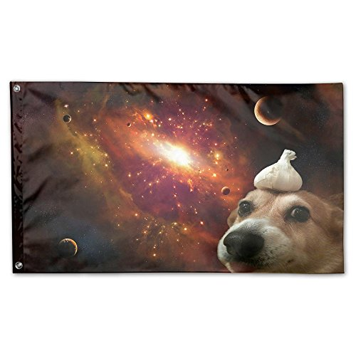 "Funny Space Dog Home Garden Yard Flags 59""x35"" Polyester Fla"