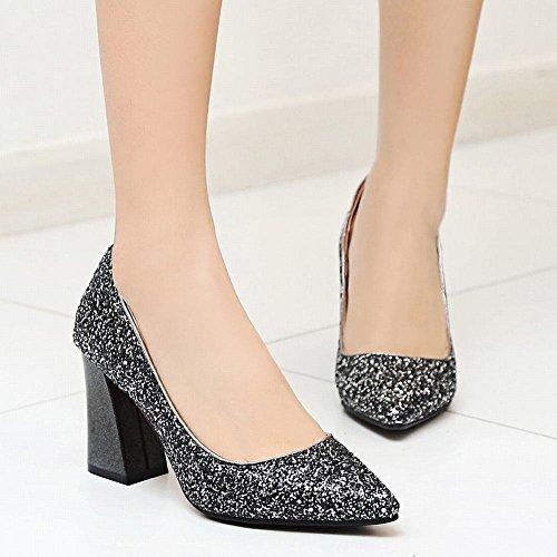3b433803fa5777 YE Damen Chunky Heels Pumps Spitze High Heels Geschlossen mit Glitzer  Pailletten Bequem Elegant Hochzeit Schuhe