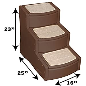 Pet Gear Easy Step III Pet Stairs, 3-Step Cats/Dogs, Removable Washable Carpet Treads Pets Up To 150lbs