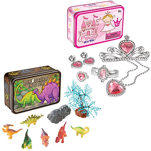 Johnson Smith Co. (Set) Princess Tin Play Set Dress Up Accessories & Prehistoric Dinosaur Toys (Smith Set Bracelet)